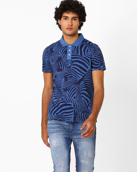All-Over Print Polo T-shirt By AJIO ( Blue ) - 460042299002