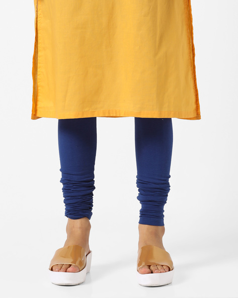 Lycra Churidar Leggings By AJIO ( Blue )