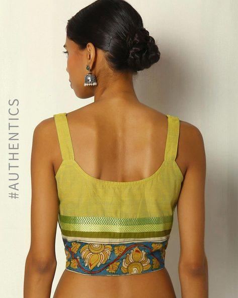 Mangalgiri Cotton Blouse With Hand Painted Kalamkari By Indie Picks ( Multi )