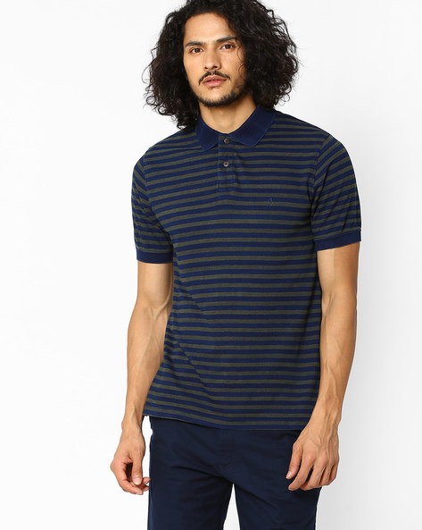 Regular Fit Striped Polo T-shirt By INDIAN TERRAIN ( Olive )