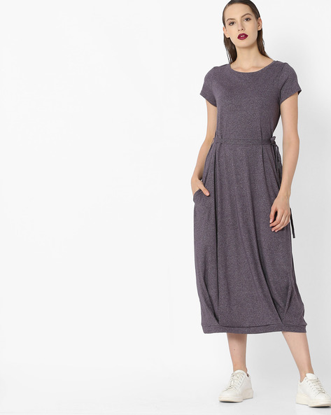 Heathered Dress With Tie-Up By Project Eve WW Casual ( Grey )