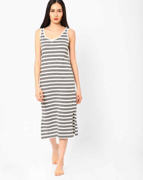Striped Sleeveless Night Dress By Slumber Jill ( Multi )