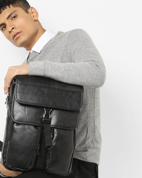 Laptop Backpack With Flap Closure By AJIO ( Black )
