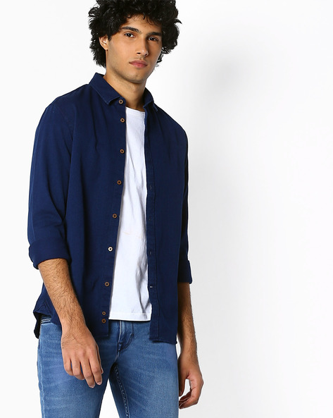 Pure Cotton Classic Indigo Shirt By Celio ( Indigo )