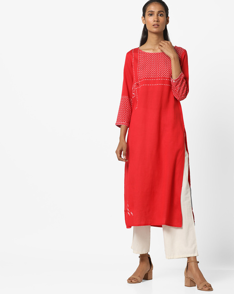 Kurta With Printed Front Yoke By Global Desi ( Red )