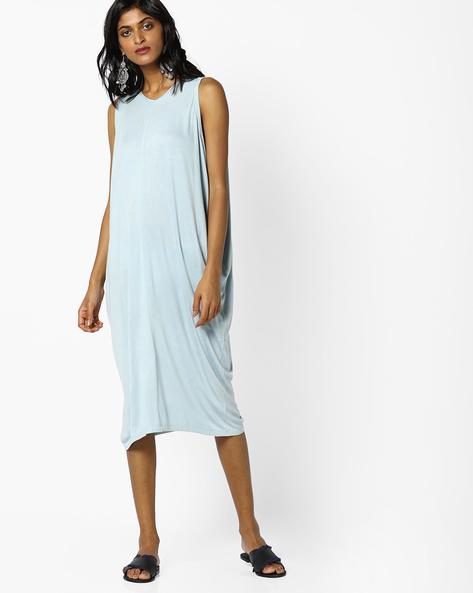 Sleeveless Sheath Dress With Drop Armholes By AJIO ( Blue )