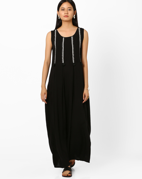 Aideen Embroidered Maxi Dress By Global Desi ( Black )