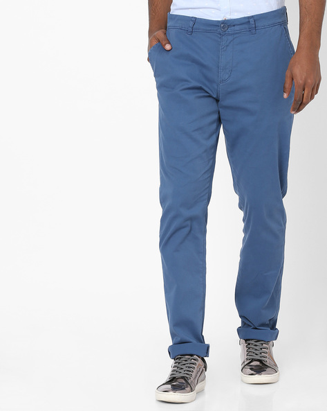 Mid-Rise Flat-Front Chinos By Teamspirit ( Blue )