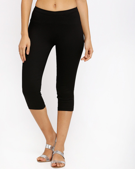 Cotton Stretch Capris By Izabel London By Pantaloons ( Black )