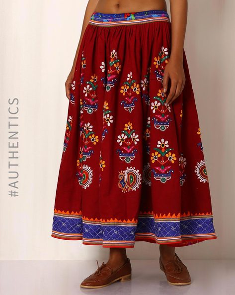 Kutch Embroidered Cotton Skirt By Indie Picks ( Maroon )