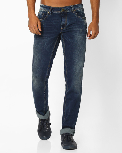 Slim Fit Lightly Washed Jeans By BASICS ( Navy )
