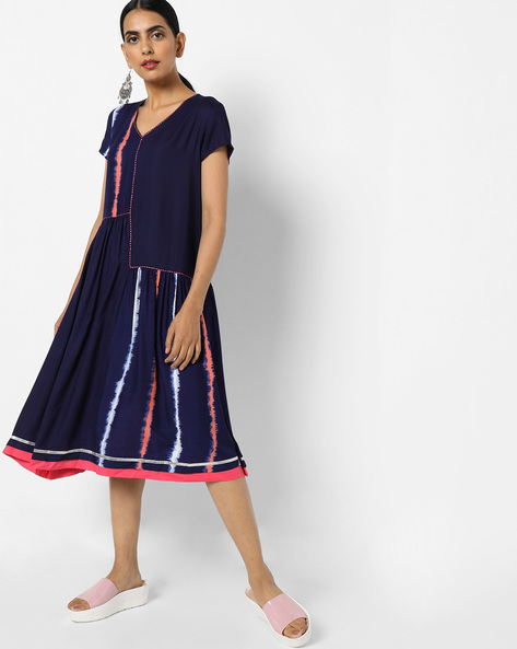 Colourblock A-line Midi Dress By AJIO ( Navy )