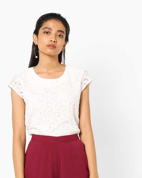 Floral Lace Top With Cap Sleeves By AJIO ( White )