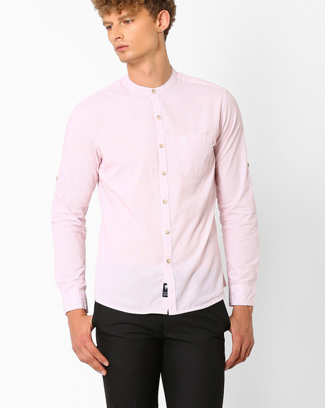 Slim Fit Shirt With Self-Design By NETPLAY ( Pink )