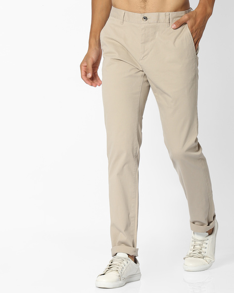 Flat-Front Tapered Chinos By NETPLAY ( Stone )