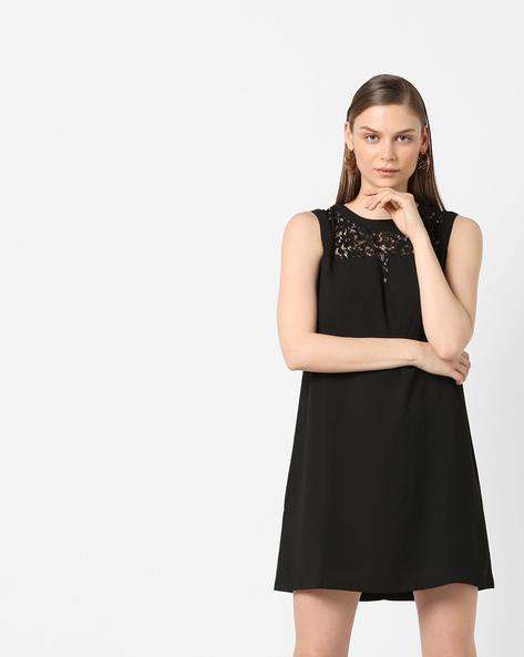 Sleeveless Shift Dress With Lace Insets By Project Eve WW Evening ( Black )