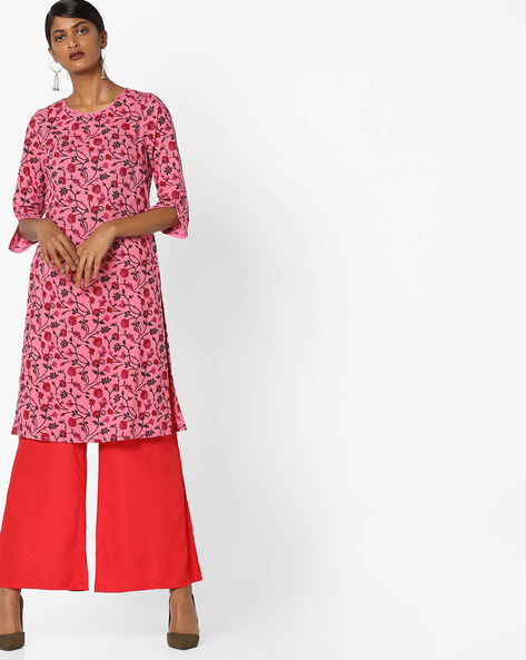 Floral Print Tunic With Slit Sleeve Hems By AJIO ( Pink )