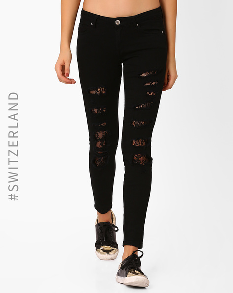 Distressed Trousers With Lace Detail By TALLY WEiJL ( Black )