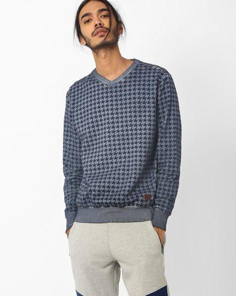 Houndstooth Print Slim Fit Sweatshirt By Blue Saint ( Blue )