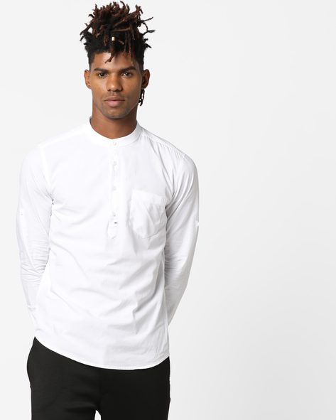 Slim Fit Shirt With Band Collar By Highlander ( White )
