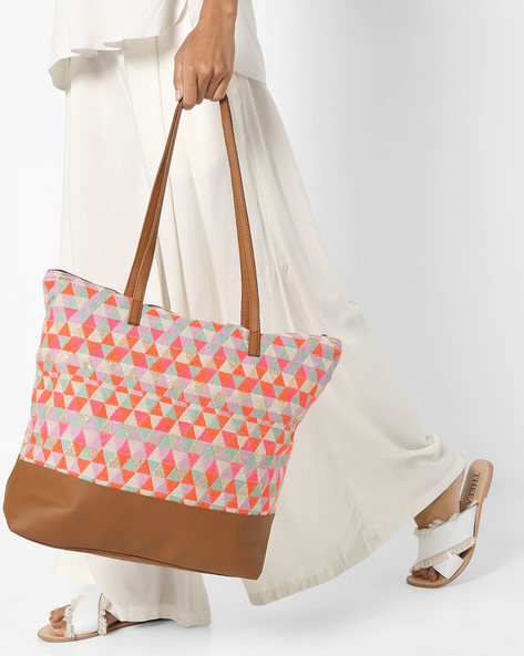 Jacquard Tote Bag By Kanvas Katha ( Multicolor ) - 460124275001