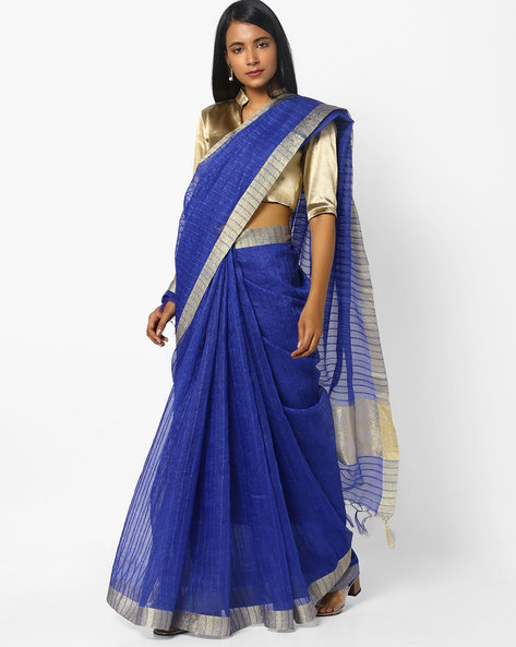 Woven Saree With Contrast Border By CHHABRA 555 ( Blue ) - 460094766001
