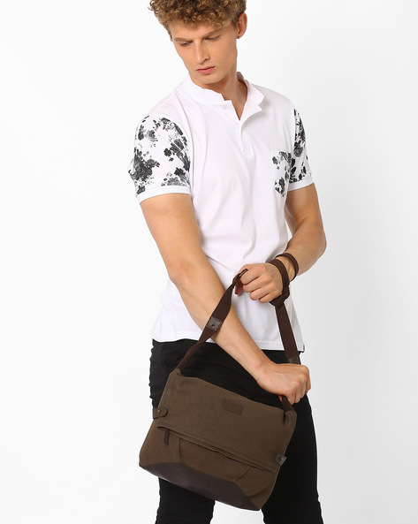 Canvas Foldover Sling Bag By AJIO ( Olive )