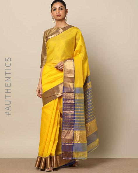 Handloom Mangalgiri Pure Silk Cotton Saree By Indie Picks ( Yellow )