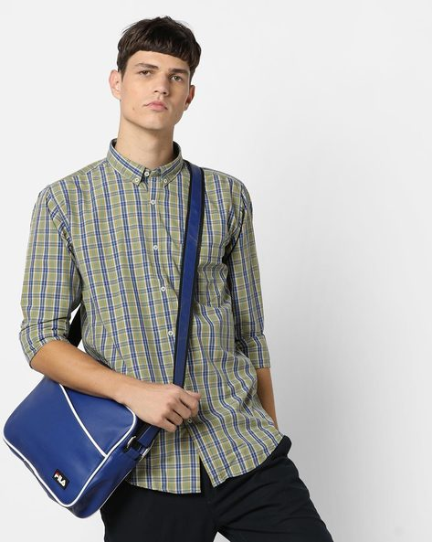 Checked Shirt With Curved Hemline By BASICS ( Green ) - 460033538004