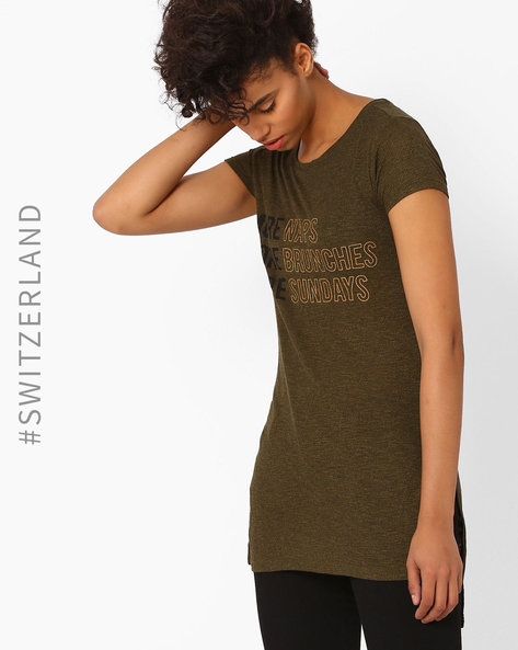 Printed High-Low T-shirt By TALLY WEiJL ( Olive )