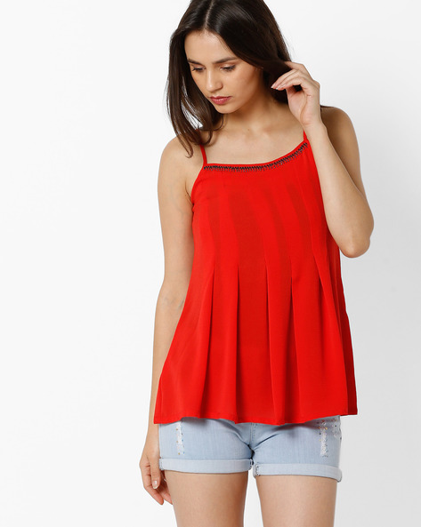 Pleated Spaghetti Top By And ( Red )