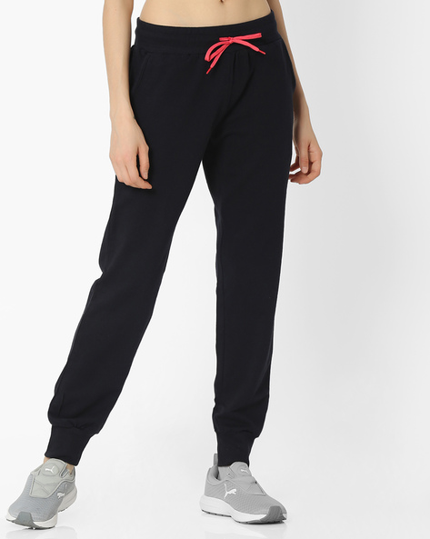 Cotton Joggers With Elasticated Waist By Teamspirit ( Navy )