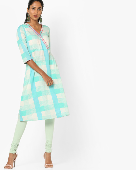 Checked Kurta With Overlapping Front By AJIO ( Teal )