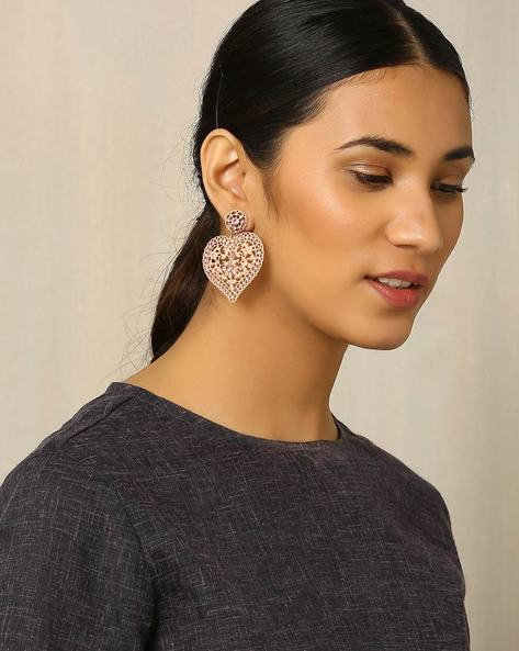 Metal Filigree Drop-Earrings By Indie Picks ( Pink )