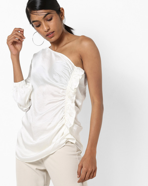 One-Shoulder Sleeve Top With Ruffles By Vero Moda ( White )