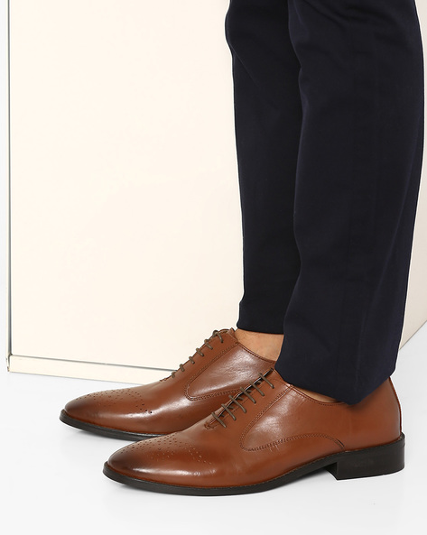 Leather Oxford Shoes With Brogue Design By FAMOZI ( Tan )