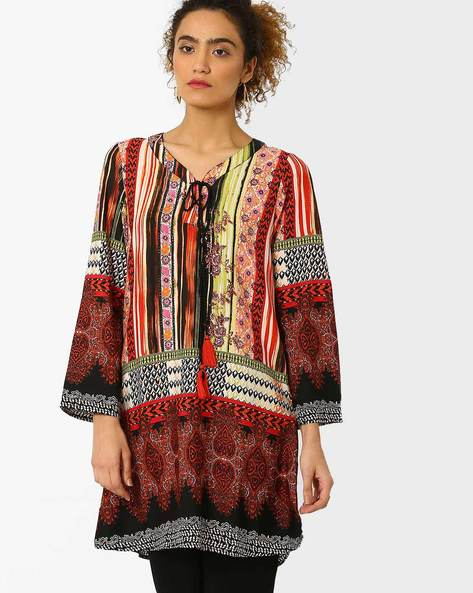 Printed Tunic With Tie-Up By Juniper ( Red )