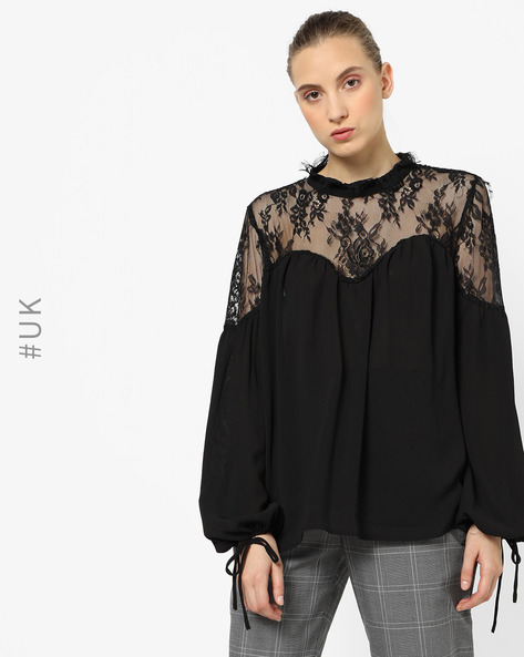 Flared Top With Lace Yoke By NEON ROSE ( Black )