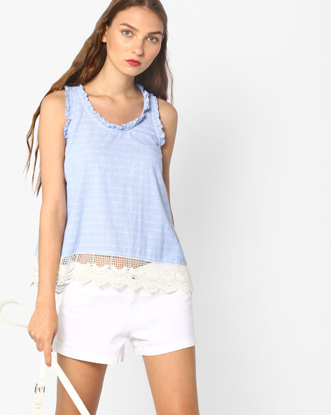 Sleeveless Top With Lace Panel By AJIO ( Blue )