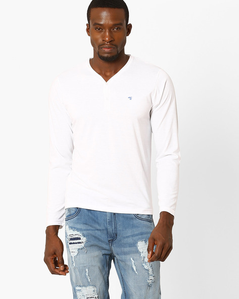 Slim Fit Henley T-shirt By The Indian Garage Co ( White )