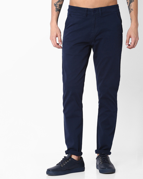 Mid-Rise Tapered Fit Chinos By Blue Saint ( Navy )