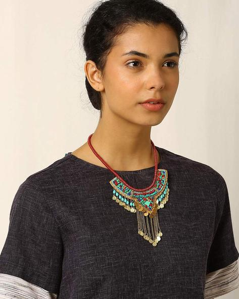 Glass Beaded Necklace With Tassels By Indie Picks ( Blue )