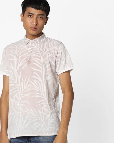 Tropical Print Polo T-shirt By RexStraut JEANS ( Khaki )