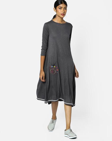 Knitted Dress With Asymmetric Hem By AJIO ( Grey )
