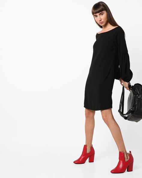 Shift Dress With Bishop Sleeves By Femella ( Black )