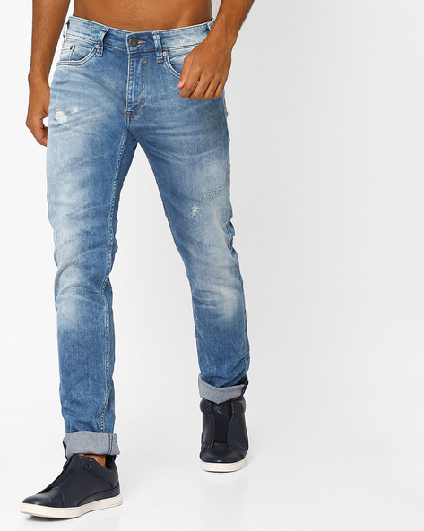 Lightly-Washed Distressed Jeans By Jack & Jones ( Lightblue )