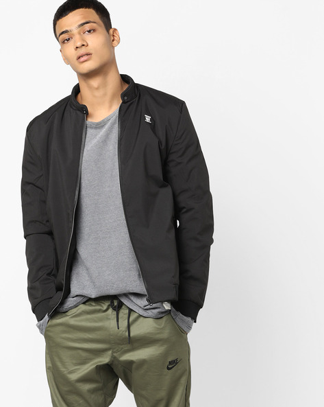 Zip-Front Jacket With Band Collar By Fort Collins ( Black )