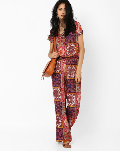 Printed Jumpsuit By AJIO ( Pink )
