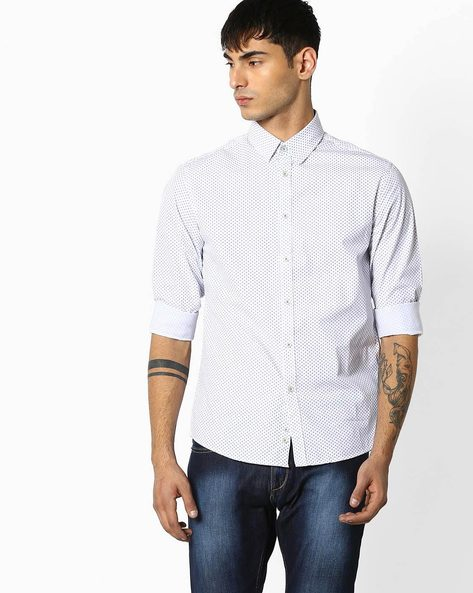 Floral Print Cotton Shirt By Celio ( White )