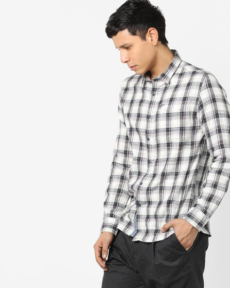 Checked Cotton Shirt With Patch Pocket By ED HARDY ( Grey )